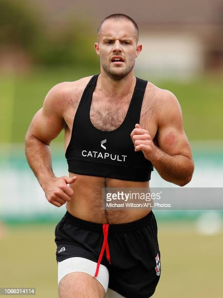 Nathan Brown of the Saints in action during a St Kilda Saints AFL training session at RSEA Park on November 29 2018 in Melbourne Australia