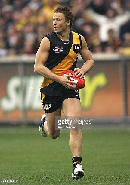 Nathan Brown of the Tigers in action during the round eleven AFL match between the Richmond Tigers and the Kangaroos at the Melbourne Cricket Ground...