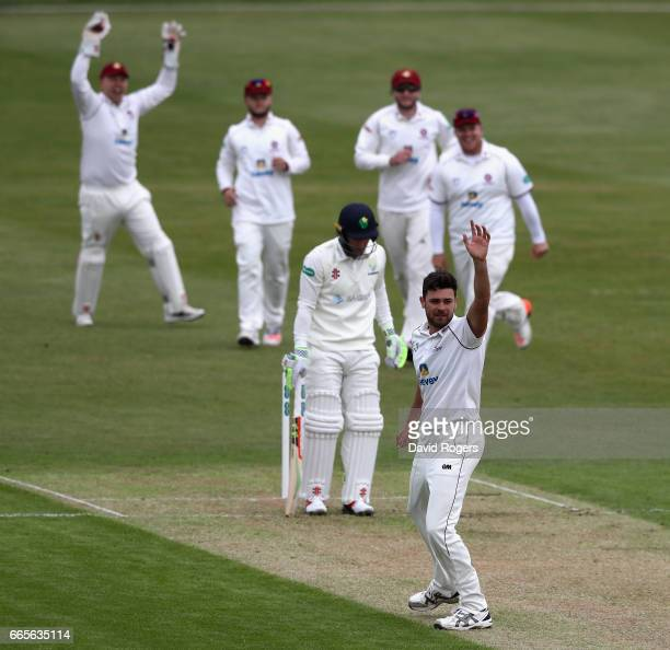 Nathan Buck of Northamptonshire celebrates after taking the wicket of Colin Ingram during the Specsavers County Championship division two match...