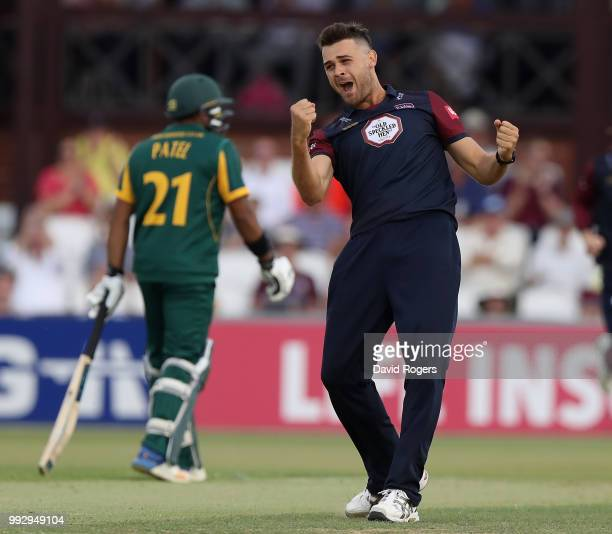 Nathan Buck of Northamptonshire celebrates after taking the wicket of Steven Mullaney during the Vitality Blast match between Northamptonshire...