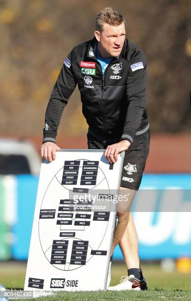 Nathan Buckley coach of the Magpies looks on during a Collingwood AFL training session at the Holden Centre on July 6 2017 in Melbourne Australia
