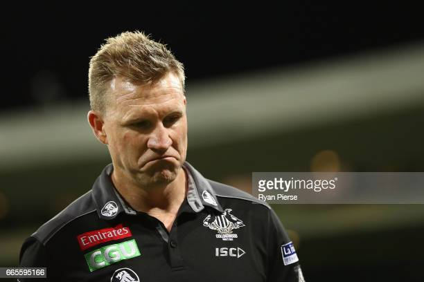 Nathan Buckley coach of the Magpies looks on during the round three AFL match between the Sydney Swans and the Collingwood Magpies at Sydney Cricket...