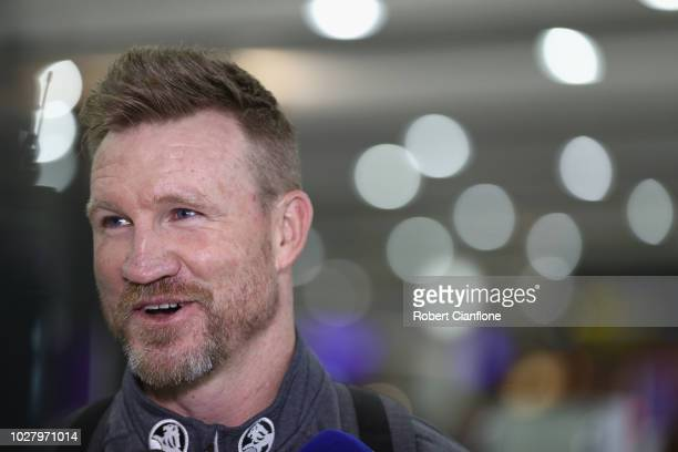 Nathan Buckley speaks to the media during a Collingwood Magpies AFL press conference at the Melbourne Airport on September 7 2018 in Melbourne...