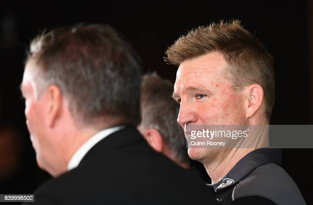 Nathan Buckley the coach and Eddie McGuire the president of the Magpies speak to the media during a Collingwood Magpies AFL press conference at the...