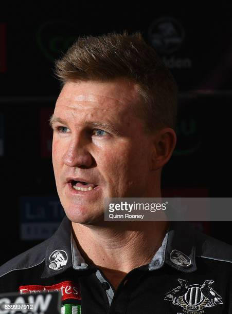Nathan Buckley the coach of the Magpies speaks to the media during a Collingwood Magpies AFL press conference at the Holden Centre on August 28 2017...