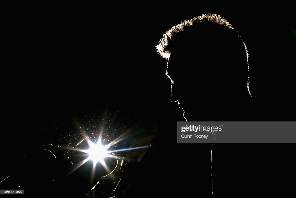 Nathan Buckley the coach of the Magpies talks to the media during a Collingwood Magpies AFL press conference at Westpac Centre on March 31, 2015 in Melbourne, Australia.