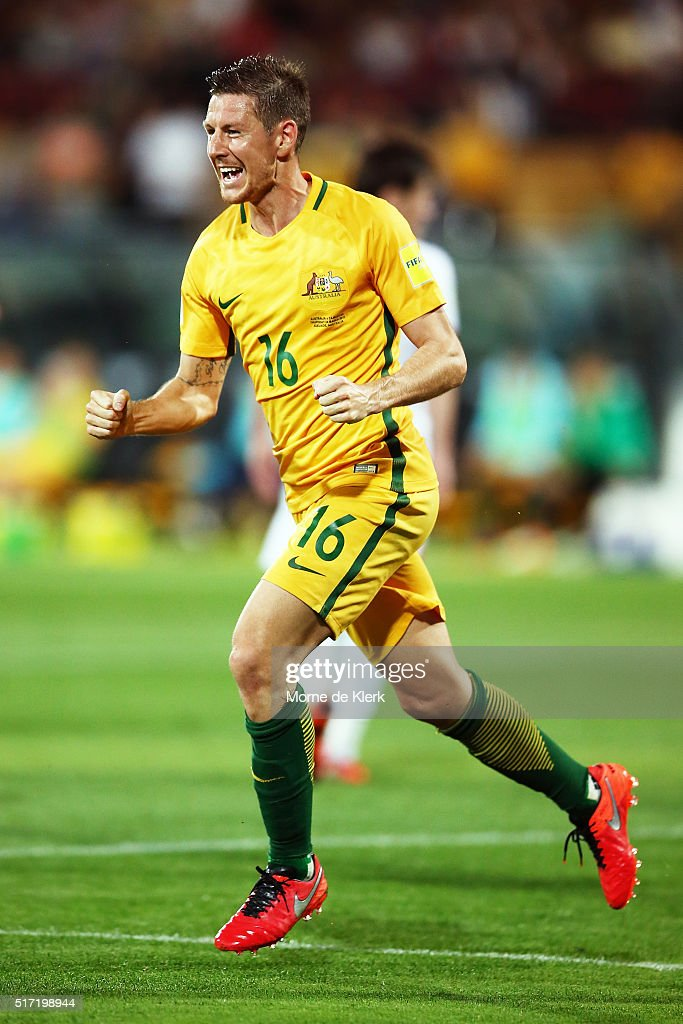 Nathan Burns of Australia celebrates after scoring a goal during the 2018 FIFA World Cup Qualification match between the Australia Socceroos and Tajikistan at the Adelaide Oval on March 24, 2016 in Adelaide, Australia.