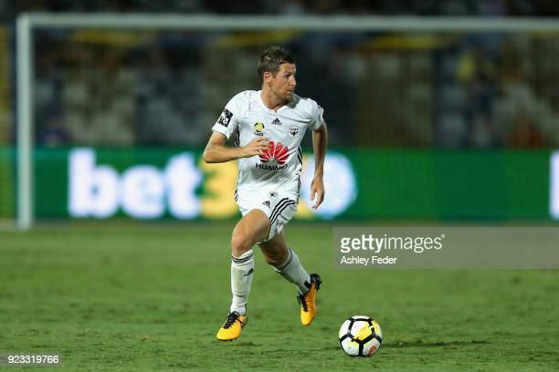 Nathan Burns of the Phoenix in action during the round 21 ALeague match between the Central Coast Mariners and the Wellington Phoenix at Central...