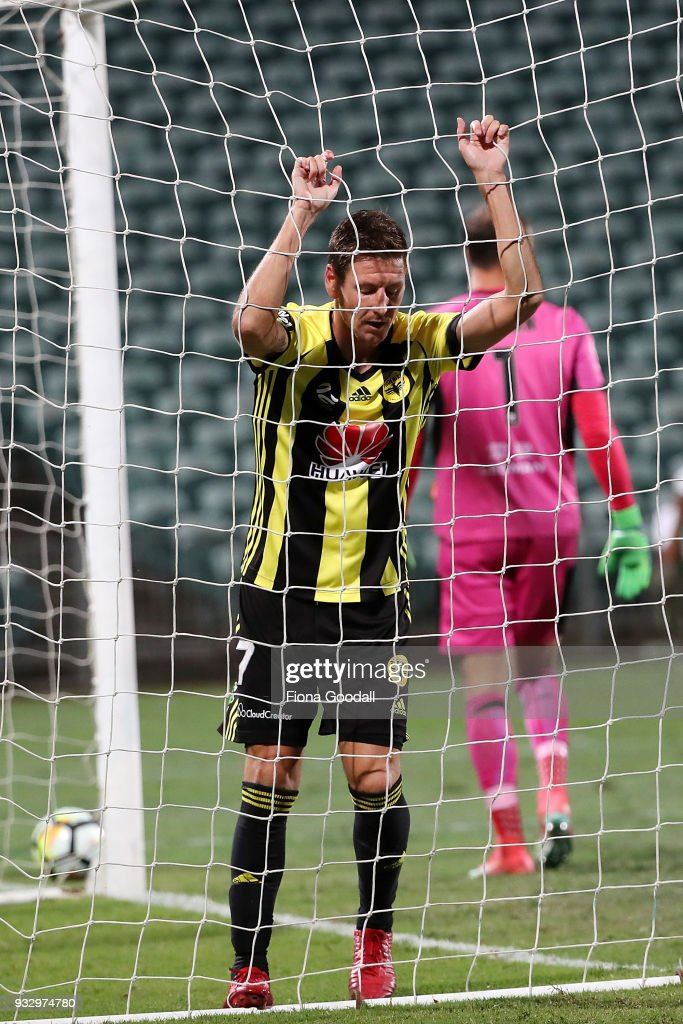 Nathan Burns of the Wellington Phoenix reacts to mised shot at goal during the round 23 A-League match between the Wellington Phoenix and the Newcastle Jets at QBE Stadium on March 17, 2018 in Auckland, New Zealand.
