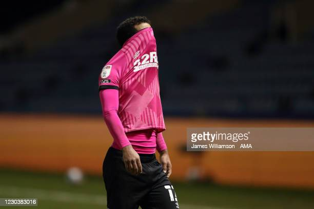 Nathan Byrne of Derby County dejected at full time of the Sky Bet Championship match between Sheffield Wednesday and Derby County at Hillsborough...