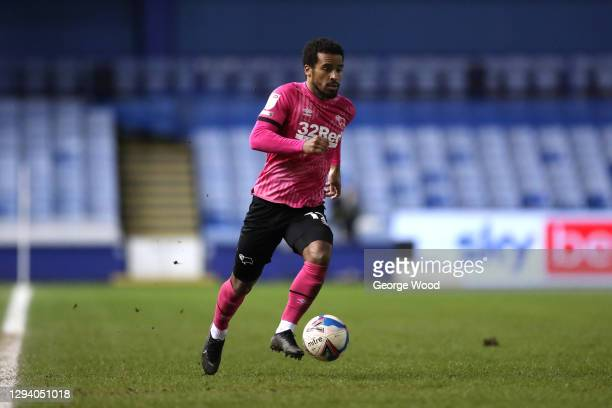Nathan Byrne of Derby County runs with the ball during the Sky Bet Championship match between Sheffield Wednesday and Derby County at Hillsborough...