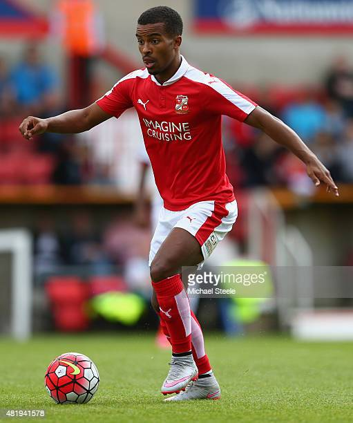 Nathan Byrne of Swindon Town during the PreSeason Friendly match between Swindon Town and West Bromwich Albion at the County Ground on July 25 2015...