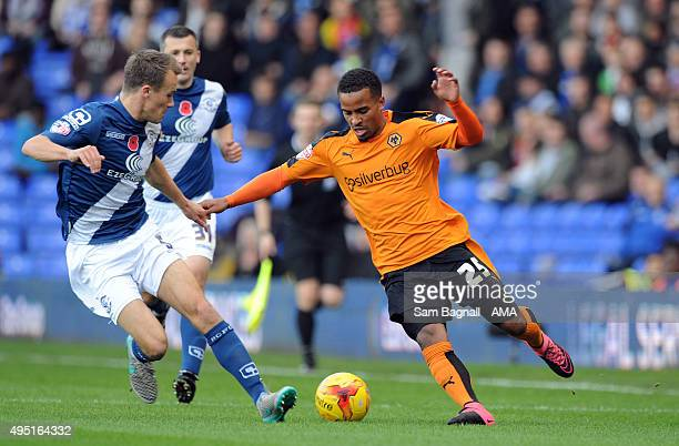 Nathan Byrne of Wolverhampton Wanderers and Maikel Kieftenbeld Birmingham City during the Sky Bet Championship match between Birmingham City and...