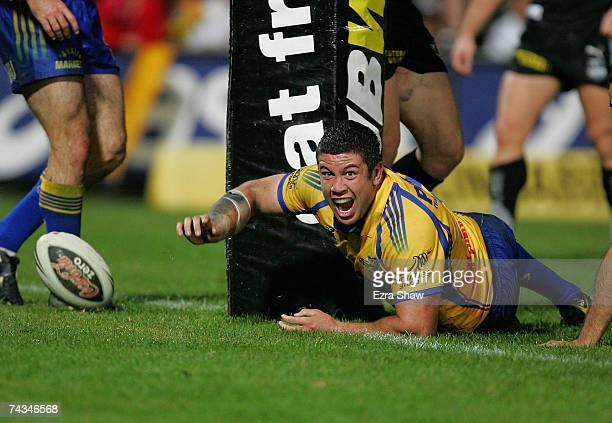 Nathan Cayless of the Eels celebrates after scoring a try against the Warriors during the round 11 NRL match between the Parramatta Eels and the...