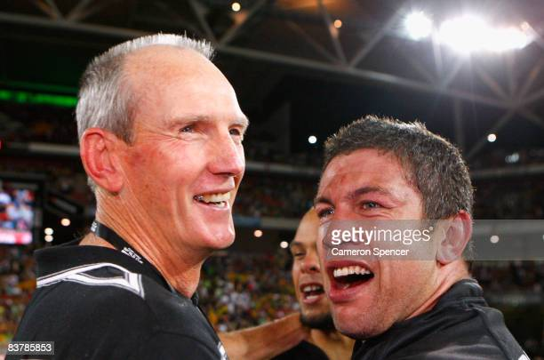 Nathan Cayless of the Kiwis is congratulated by Kiwis assistant coach Wayne Bennett during the 2008 Rugby League World Cup Final match between the...