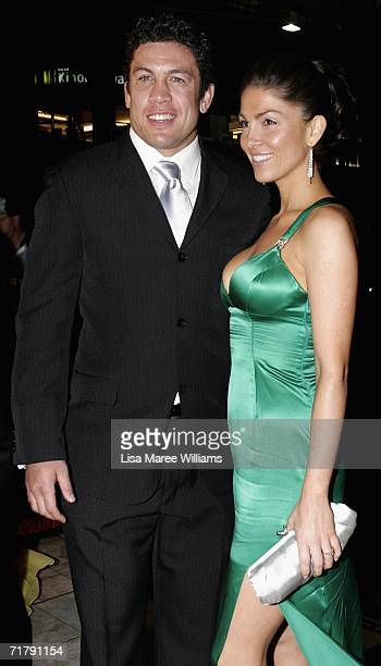 Nathan Cayless of the Parramatta Eels and his partner arrive at the Dally M Awards at Sydney Town Hall September 5 2006 in Sydney Australia The Dally...