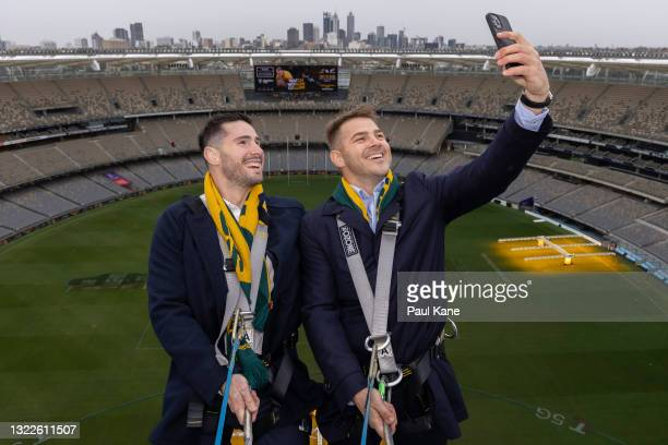 Nathan Charles and Drew Mitchell take a selfie on the rooftop of Optus Stadium during a media opportunity announcing the on-sale of Wallabies tickets...