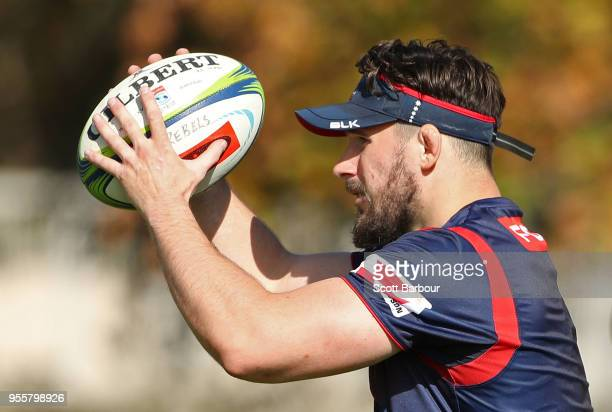 Nathan Charles of the Rebels throws the ball into a lineout during a Melbourne Rebels Super Rugby training session at Gosch's Paddock on May 8 2018...