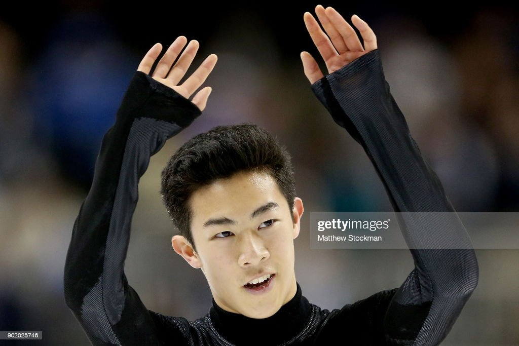 Nathan Chen acknowledges the crowd after competing in the Men's Free Skate during the 2018 Prudential U.S. Figure Skating Championships at the SAP Center on January 6, 2018 in San Jose, California.