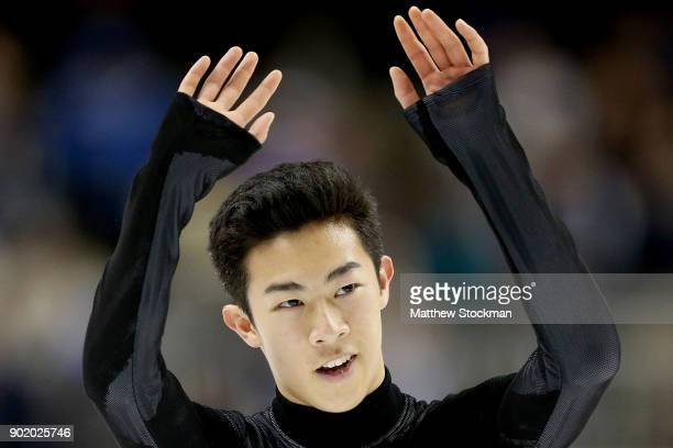 Nathan Chen acknowledges the crowd after competing in the Men's Free Skate during the 2018 Prudential US Figure Skating Championships at the SAP...