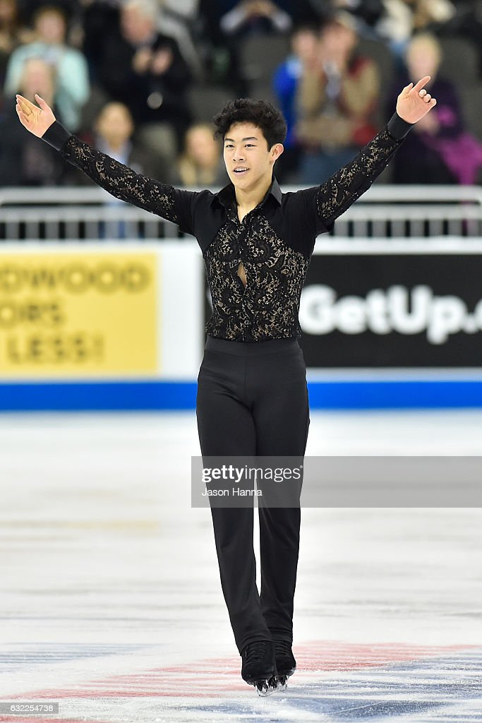 Nathan Chen acknowledges the crowd after his routine that would earn him first place in the short routine championship on Day 2 at the 2017 US Figure Skating Championships on January 20, 2017 at the Sprint Center in Kansas City, Missouri.