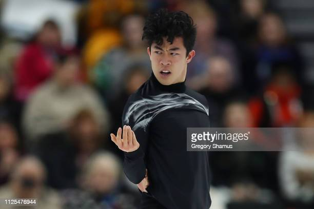 Nathan Chen competes in the men's championship free skate during the 2019 US Figure Skating Championships at Little Caesars Arena on January 27 2019...