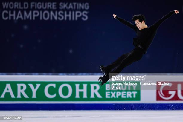Nathan Chen of the United States competes in the Men's Free Skating during day four of the ISU World Figure Skating Championships at Ericsson Globe...
