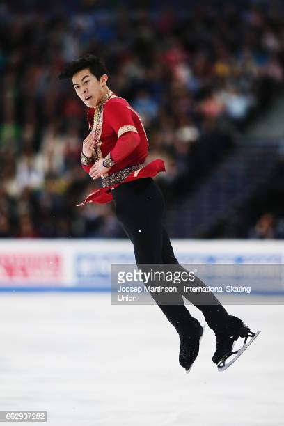 Nathan Chen of the United States competes in the Men's Free Skating during day four of the World Figure Skating Championships at Hartwall Arena on...