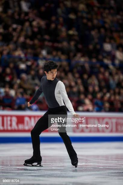 Nathan Chen of the United States competes in the Men's Short Program during day two of the World Figure Skating Championships at Mediolanum Forum on...