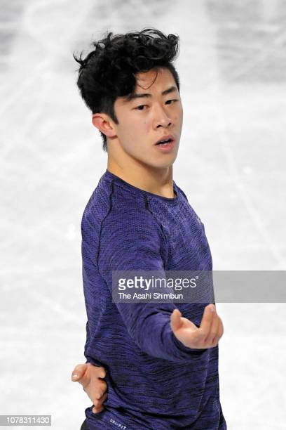 Nathan Chen of the United States in action during a practice session ahead of the ISU Junior Senior Grand Prix of Figure Skating Final at Doug...