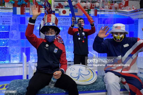 Nathan Chen of the United States is seen at the kiss and cry after competing in the Men's Single Free Skating on day two of ISU World Team Trophy at...