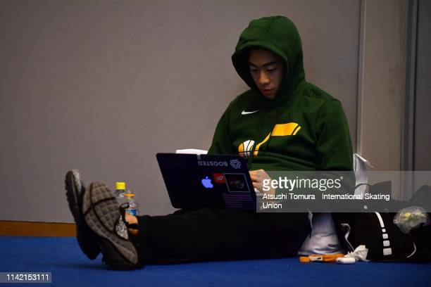 Nathan Chen of the United States is seen in the warm up room on day two of the ISU Team Trophy at Marine Messe Fukuoka on April 12 2019 in Fukuoka...
