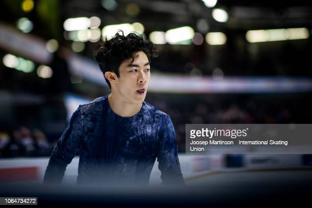 Nathan Chen of the United States looks on in the Men's Free Skating during day 2 of the ISU Grand Prix of Figure Skating Internationaux de France at...