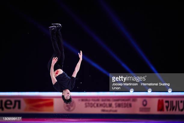 Nathan Chen of the United States performs a backflip in the Gala Exhibition during day five of the ISU World Figure Skating Championships at Ericsson...