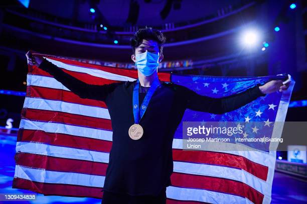 Nathan Chen of the United States poses for a photo in the Men's medal ceremony during day four of the ISU World Figure Skating Championships at...