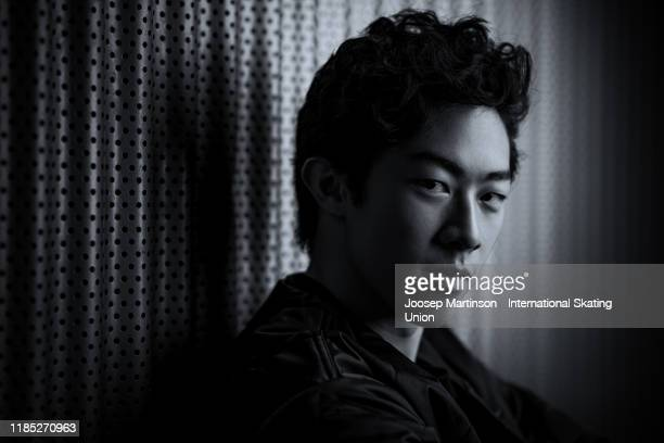 Nathan Chen of the United States poses for a photograph during day 3 of the ISU Grand Prix of Figure Skating Internationaux de France at Polesud Ice...