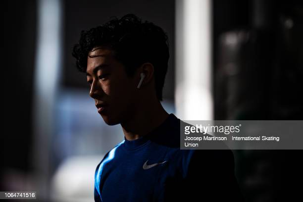 Nathan Chen of the United States prepares ahead of the Men's Free Skating during day 2 of the ISU Grand Prix of Figure Skating Internationaux de...