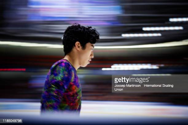 Nathan Chen of the United States prepares in the Men's Free Skating during day 2 of the ISU Grand Prix of Figure Skating Internationaux de France at...