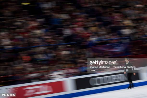 Nathan Chen of the United States prepares in the Men's Free Skating during day four of the World Figure Skating Championships at Mediolanum Forum on...