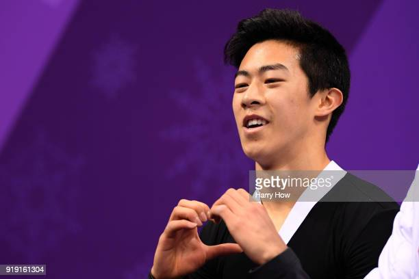 Nathan Chen of the United States reacts after competing during the Men's Single Free Program on day eight of the PyeongChang 2018 Winter Olympic...