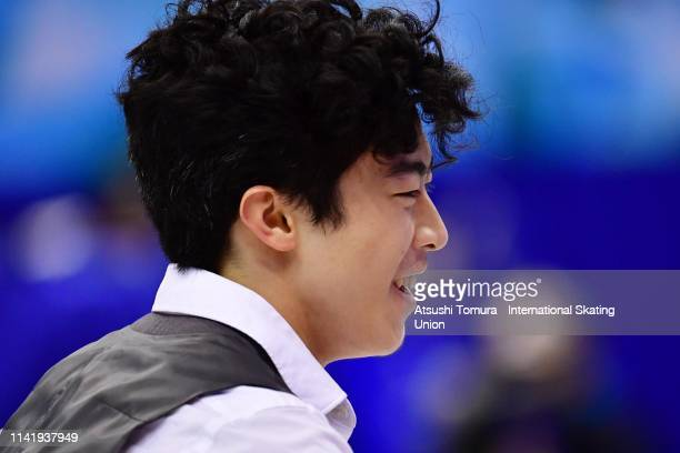Nathan Chen of the United States smiles after competing in the Men's Single Short Program on day one of the ISU Team Trophy at Marine Messe Fukuoka...