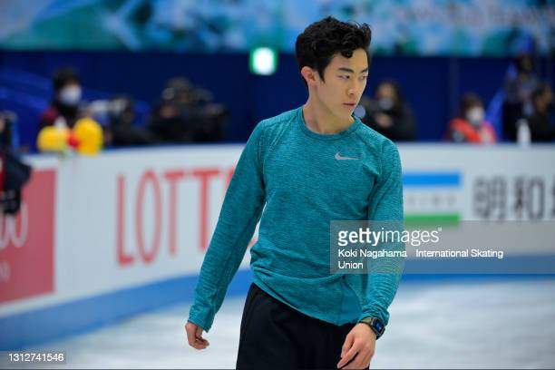 Nathan Chen of the United States takes part in the oficial practice on day two of ISU World Team Trophy at Maruzen Intec Arena Osaka on April 16,...