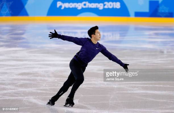 Nathan Chen of The United States trains during Figure Skating practice ahead of the PyeongChang 2018 Winter Olympic Games at Gangneung Ice Arena on...