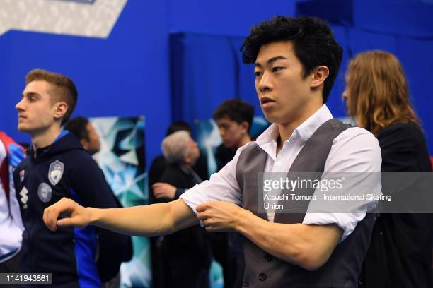 Nathan Chen of the United States waits prior to competing in the Men's Single Short Program on day one of the ISU Team Trophy at Marine Messe Fukuoka...