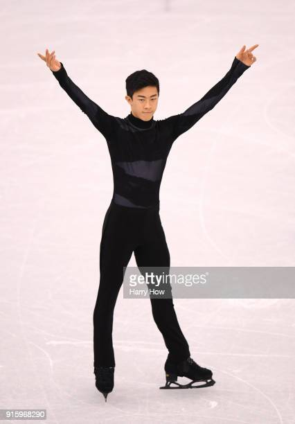 Nathan Chen of the United States warms up before competing in the Figure Skating Team Event Men's Single Skating Short Program during the PyeongChang...
