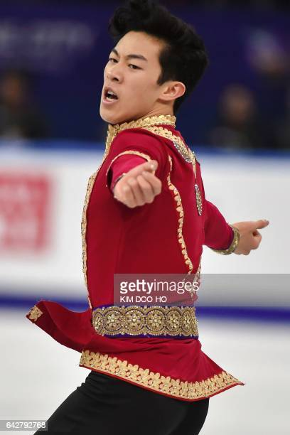 Nathan Chen of the US performs during the men's Free Skating event in the ISU Four Continents Figure Skating Championships at Gangneung Ice Arena in...