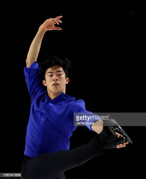 Nathan Chen of the USA competes in the Mens Free Skating program during the ISU Grand Prix of Figure Skating at the Orleans Arena on October 24, 2020...