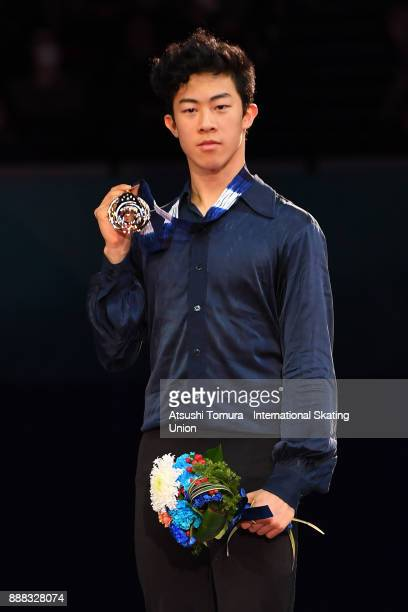 Nathan Chen of the USA poses on the podium after competing in the men free skating during the ISU Junior Senior Grand Prix of Figure Skating Final at...