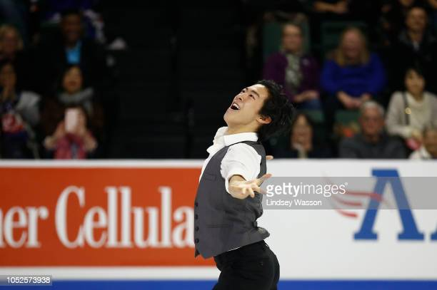 Nathan Chen of the USA smiles as he performs in the Mens Short Program during day one of the ISU Grand Prix of Figure Skating Skate America at Angel...