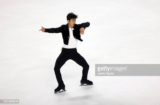 Nathan Chen of thew USA competes in the Mens Short Program during the ISU Grand Prix of Figure Skating at the Orleans Arena on October 23, 2020 in...